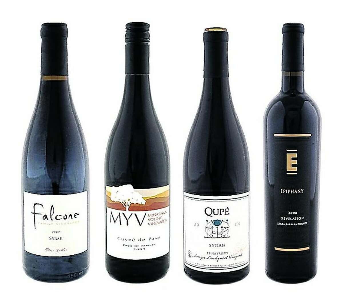 From left: 2009 Falcone Family Vineyards Paso Robles Syrah; 2009 Minassian Young Cuvee de Paso Paso Robles Red; 2009 Qupé Sawyer Lindquist Vineyard Edna Valley Syrah; 2008 Epiphany Cellars Revelation Santa Barbara County Red
