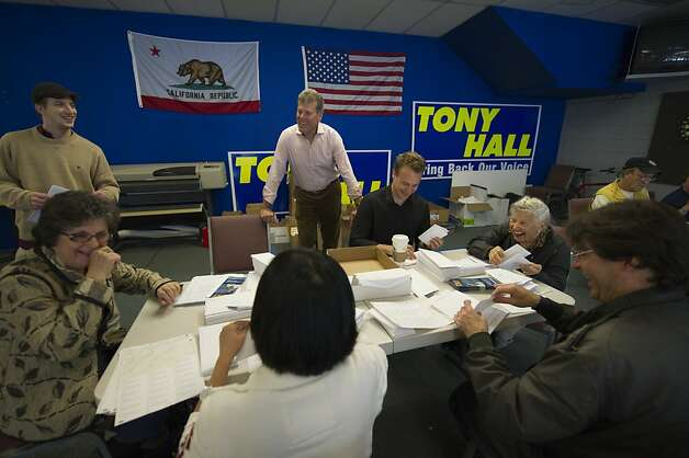 San Francisco mayoral candidate Tony Hall, center, talks with volunteers (clockwise) Judith Terracina, John Jones, Christopher Brodeur, Angie Friedman, John Popescu and Helen Lem at his campaign headquarters on August 20, 2011 in San Francisco, Calif. Photograph by David Paul Morris/Special to the Chronicle Photo: David Paul Morris, Special To The Chronicle
