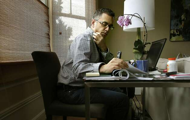 Jay Cuetara, works from his Pacific Heights home on Friday August 14, 2011, in San Francisco, Ca. Cuerata a cancer patient was surprised to find when he showed up for his cancer treatment earlier this week, that the drug he is currently using is in short supply and unavailable until the end of this month. Photo: Michael Macor, The Chronicle