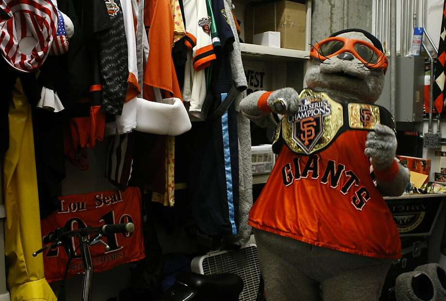 Joel Zimei also known as Lou Seal prepares for a game in his dressing room, thursday August 4, 2011, at AT&T PArk in San Francisco, Calif. Photo: Lacy Atkins, The Chronicle