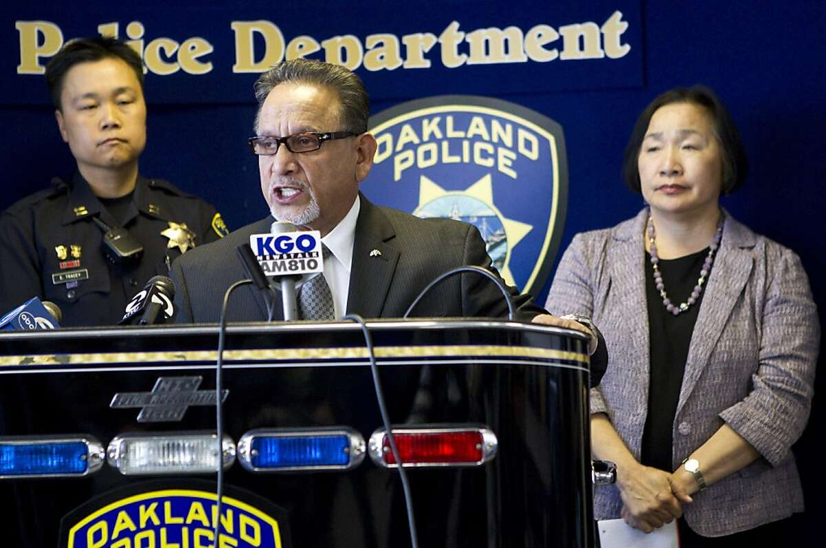 """Oakland Councilman Ignacio De La Fuente speaks about the shooting of Jesus """"Chuy"""" Campos at a press conference also attended by Oakland Mayor Jean Quan (right) and Oakland Police Captain Ed Tracey (left) at Oakland police headquarters in Oakland, Calif., on Friday, April 8, 2011. Campos was shot shortly after 5:30 a.m. Friday morning near a side door to his restaurant Otaez Mexicatessen in the Fruitvale District and later died of his injuries. Ran on: 05-02-2011 Councilman Ignacio De La Fuente Ran on: 07-04-2011 Ignacio De La Fuente"""