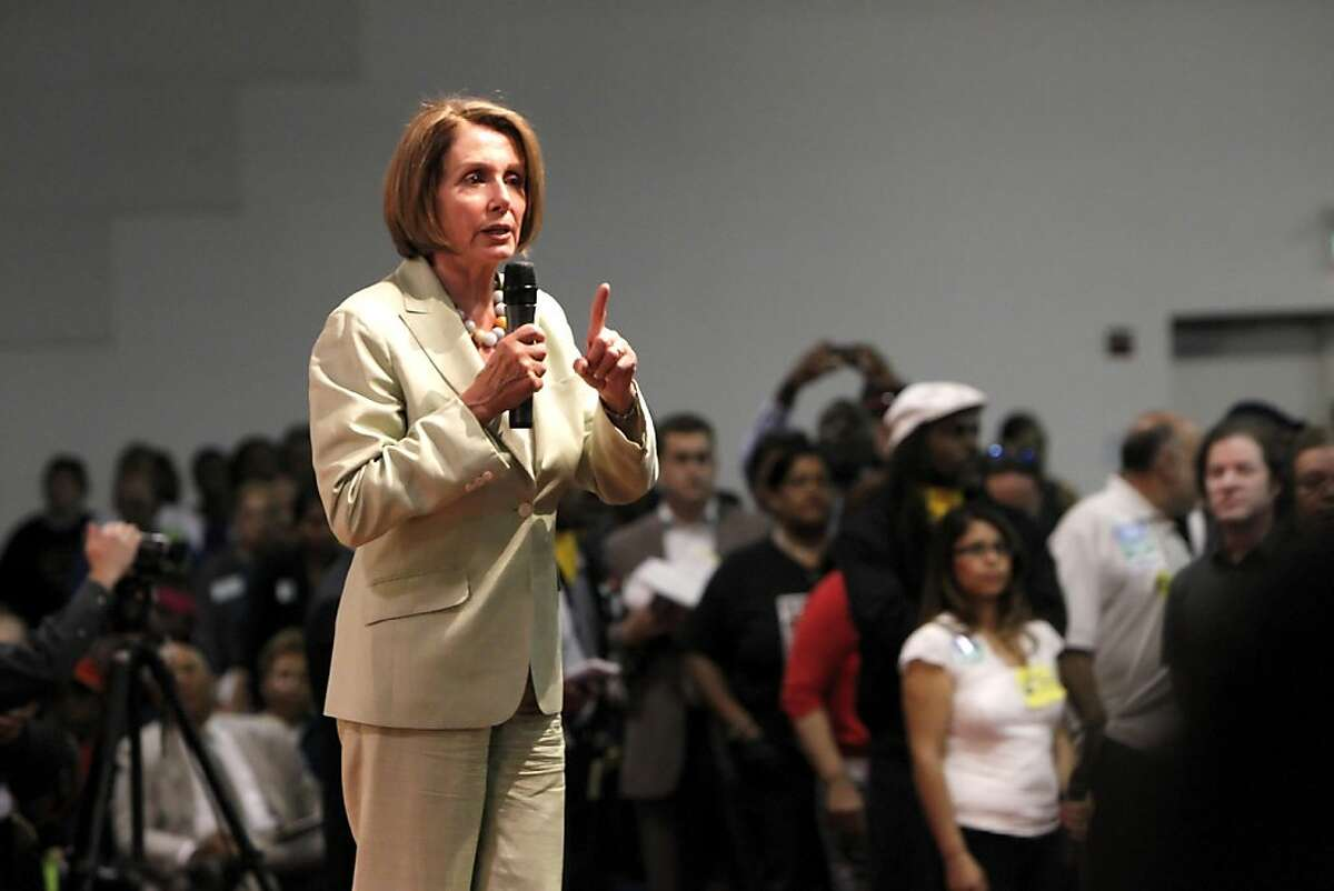 Democratic Leader Nancy Pelosi answer the questions of the hundreds of people, Tuesday August 16, 2011, for the Speak Out for Good Jobs Now, town hall meeting in Oakland, Calif.