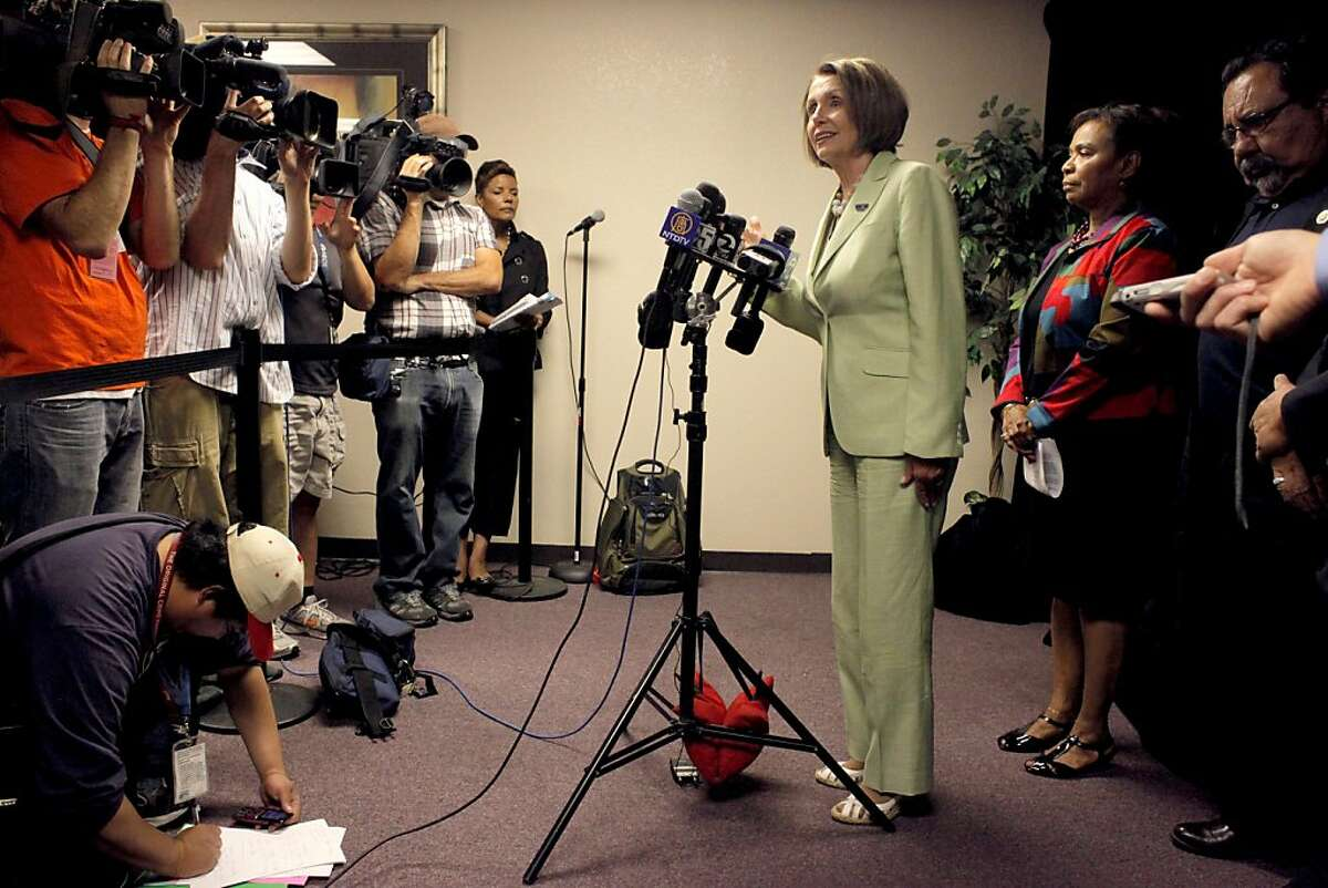 Democratic Leader Nancy Pelosi address the media with Congresswoman Barbara Lee before the Speak Out for Good Jobs Now, town hall meeting, Tuesday August 16, 2011, in Oakland, Calif.