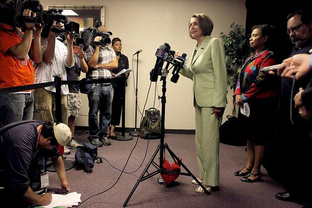 Democratic Leader Nancy Pelosi address the media with  Congresswoman Barbara Lee before the Speak Out for Good Jobs Now, town hall meeting, Tuesday August 16, 2011, in Oakland, Calif. Photo: Lacy Atkins, The Chronicle