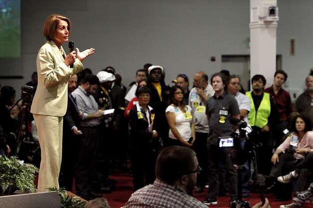 Democratic Leader Nancy Pelosi answer the questions of the hundreds of people, Tuesday August 16, 2011, for the  Speak Out for Good Jobs Now, town hall meeting in Oakland, Calif. Photo: Lacy Atkins, The Chronicle