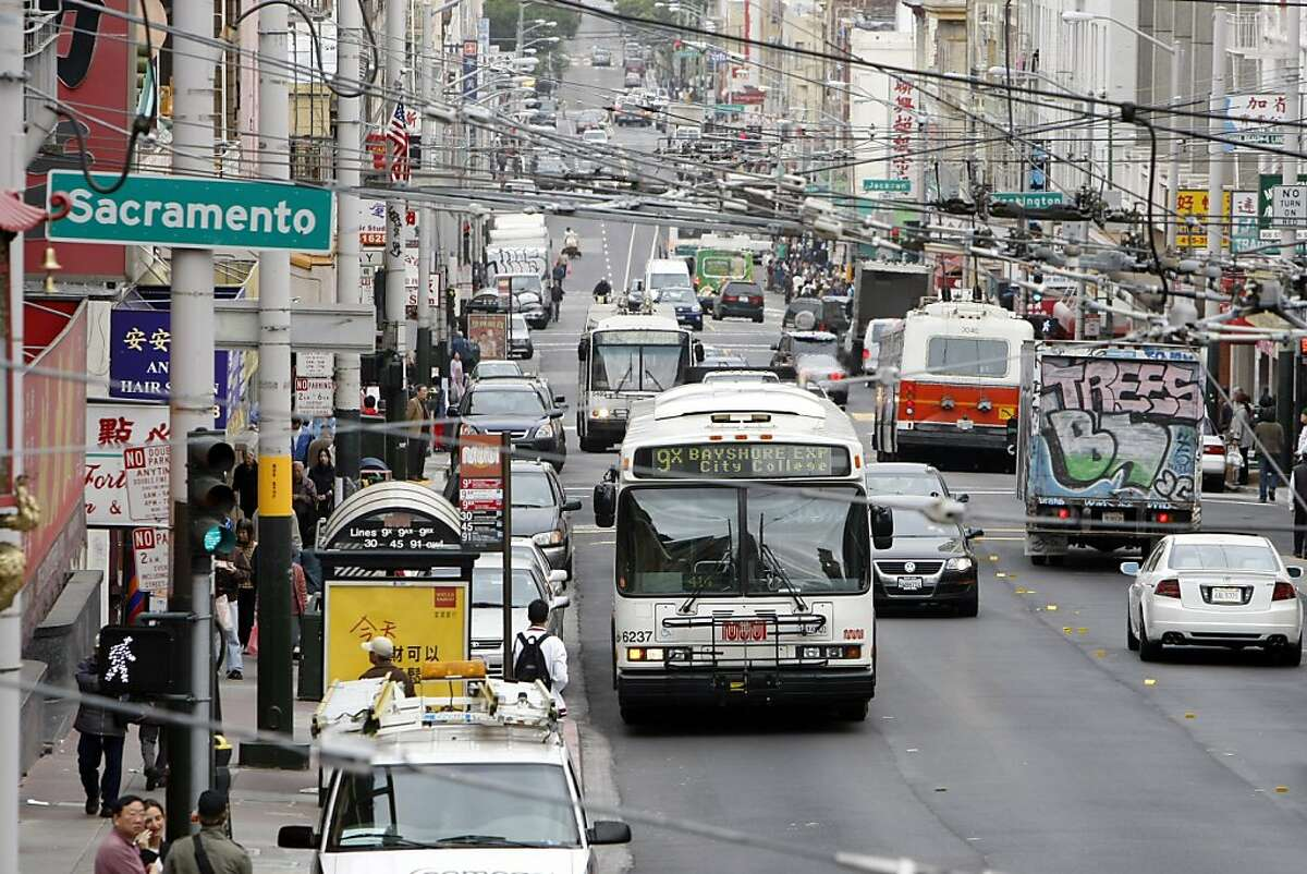 Muni_004_EAL.JPG Muni busses make their way down Stockton Street through Chinatown Thursday morning, October 18, 2007. Event on 10/18/07 in San Francisco. Erin Lubin / For the Chronicle Ran on: 05-14-2008 The citys transit system would be placed under greater control of the Board of Supervisors under a proposed ballot measure. Ran on: 08-20-2011 Muni buses creep along crowded Chinatown streets. The 30-Stockton has been called the slowest line in the city.