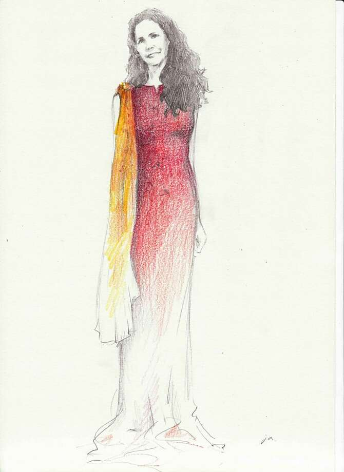 An illustration Jungah Lee, showing the dress made for Betsy Franco to wear to the 2011 Academy Awards. Photo: Courtesy Camilla Olson