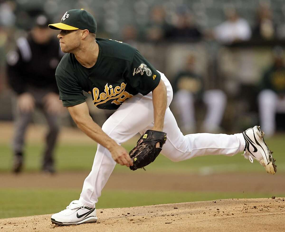Oakland Athletics' Rich Harden works against the Toronto Blue Jays during the first inning of a baseball game, Friday, Aug. 19, 2011, in Oakland, Calif. (AP Photo/Ben Margot)