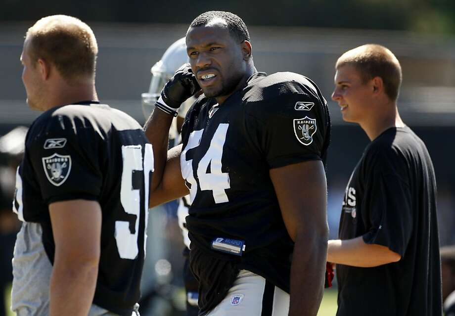 Sam Williams (54), center, walked with other members of the defense. The Oakland Raiders held their regular afternoon workout in Napa, Calif. Wednesday August 17, 2011.  Their next preseason game is against the San Francisco 49ers. Photo: Brant Ward, The Chronicle