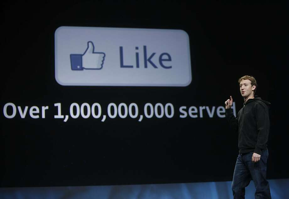 Facebook CEO Mark Zuckerberg introduces new features for Facebook during the keynote at f8, a one day developer conference sponsored by Facebook at the Concourse Design Center on Wednesday 21, 2010 in San Francisco, Calif.    Ran on: 04-22-2010 Mark Zuckerberg explains the Like button, which will be added to Web sites for Facebook members to use.  Ran on: 04-25-2010 CEO Mark Zuckerberg outlines Facebook's new features, including a Like button, at the f8 developers conference.  Ran on: 05-02-2010 Mark Zuckerberg and new Facebook button.   Ran on: 08-26-2010 Facebook is arguing in court papers that Teachbook.com's use of &quo;book&quo; will dilute its brand authority. Photo: Mike Kepka, The Chronicle