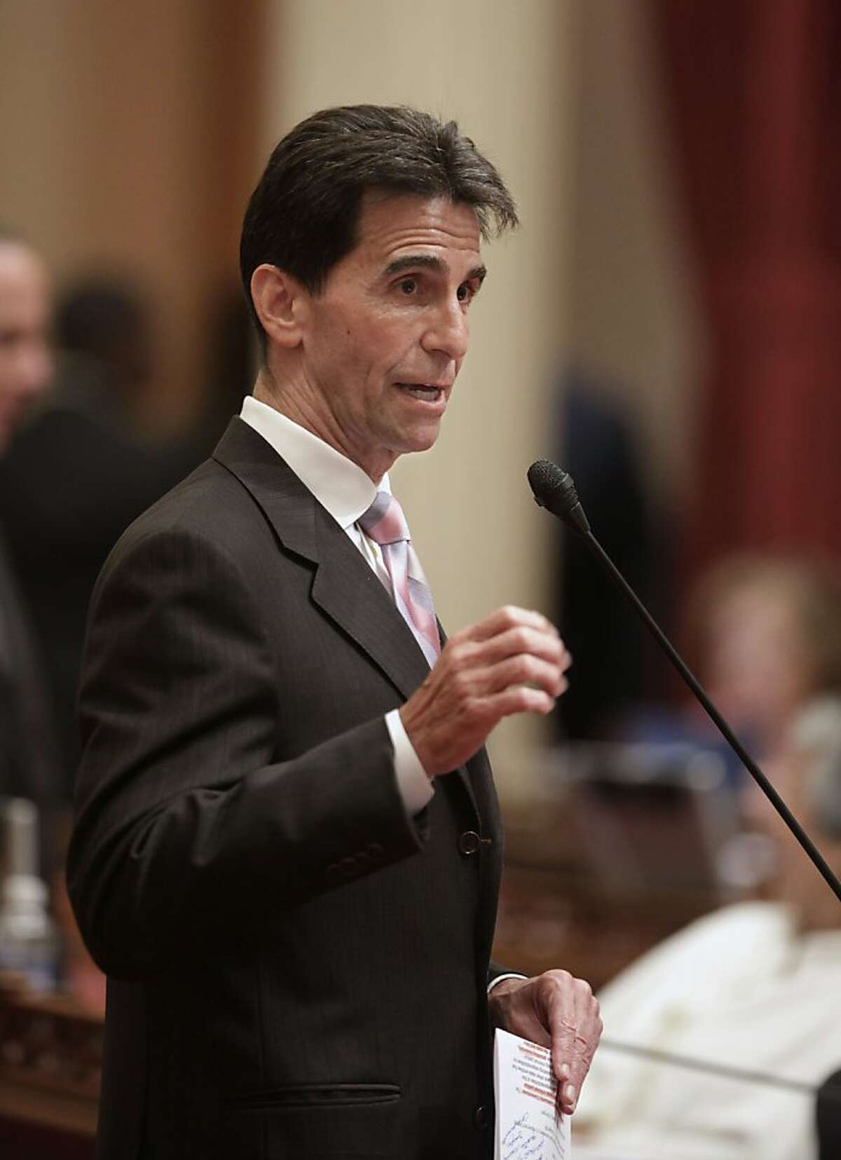 In this photo taken Tuesday, June 28 2011, State Sen. Mark Leno, D-San Francisco is seen at the Capitol in Sacramento, Calif., Leno's measure requiring public schools to teach the historical contributions of gay Americans, was approved by the Assembly on 49-25 on a party line vote, Tuesday July 5, 2011. If signed into law by Gov. Jerry Brown, California would be the first state to require public schools to include the contributions of gays and lesbians in their social studies curriculum.(AP Photo/Rich Pedroncelli) Ran on: 07-10-2011 State Sen. Mark Leno, D-S.F., is SB48s author. Ran on: 07-10-2011 State Sen. Mark Leno, D-S.F., is SB48s author. Ran on: 07-23-2011 State Sen. Mark Leno, D-San Francisco, author of the medical parole law, says the state board is holding up inmate hearings.