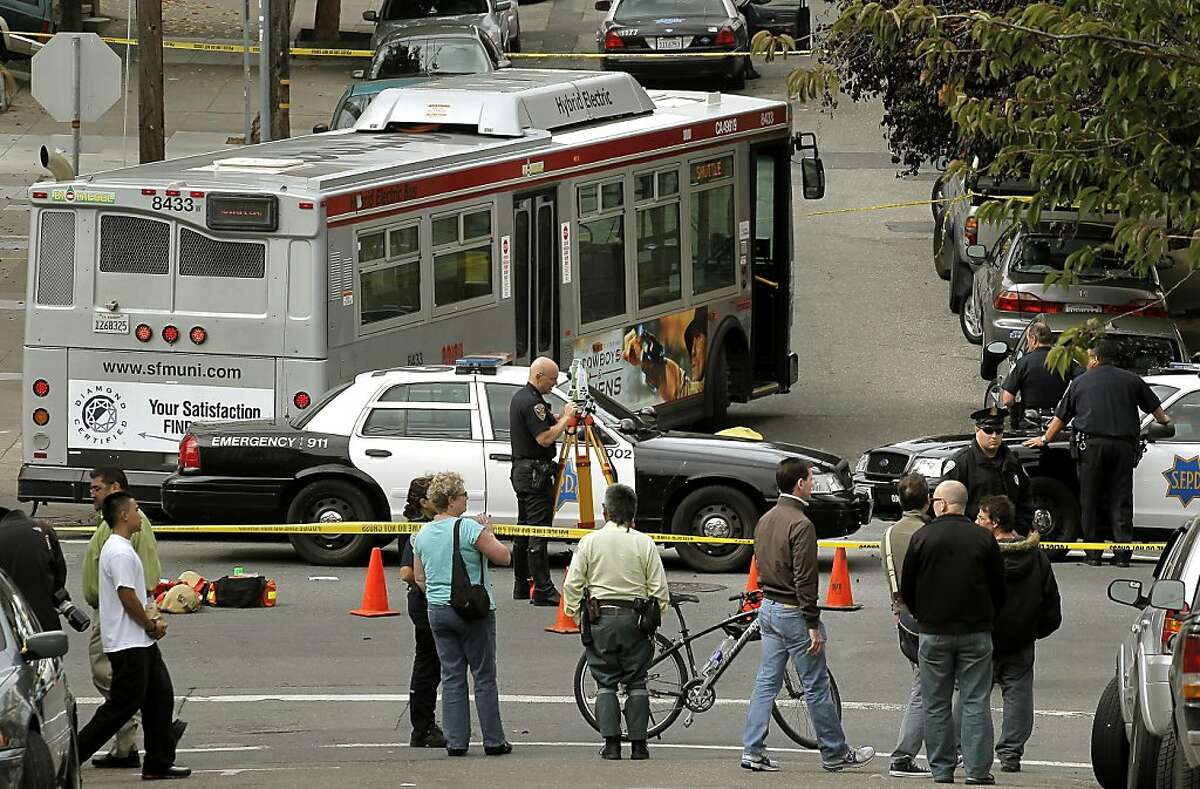 The streets blocked off as officials investigate the scene where a pedestrian was struck and killed by a MUNI bus at the corner of 18th street and Hartford in the Castro neighborhood on Friday August 19, 2011, in San Francisco, Ca.
