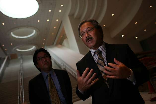 Mayor Ed Lee answers questions for the media after taking a tour of the $56 million renovations at Moscone Center on Thursday, August 11, 2011 in San Francisco, Calif. Photo: Lea Suzuki, The Chronicle