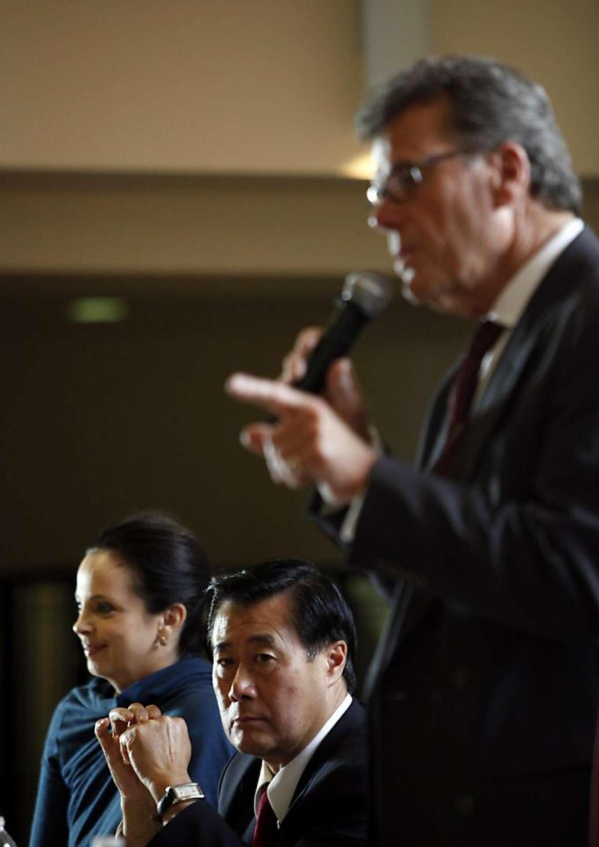 Democratic state senator Leland Yee, a San Francisco mayoral candidate, listens at the Fillmore Neighborhood Association mayoral debate in San Francisco, Calif., August 18, 2011.