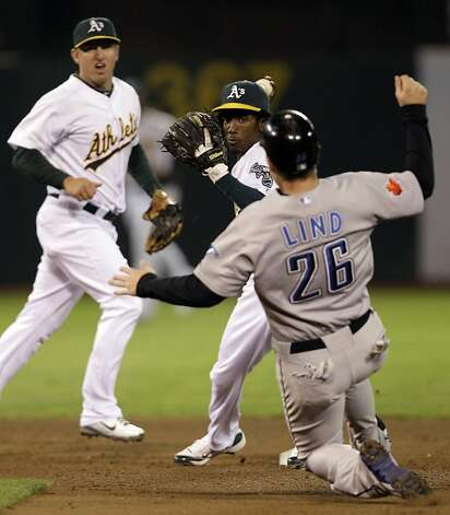 Oakland Athletics second baseman Jemile Weeks, center, prepares his double play throw over Toronto Blue Jays' Adam Lind (26) during the fifth inning of a baseball game Thursday, Aug. 18, 2011, in Oakland, Calif. Toronto's Edwin Encarnacion was out at first base. A's shortstop Cliff Pennington, left, backs up the play. (AP Photo/Ben Margot) Photo: Ben Margot, AP