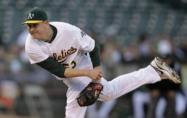 Oakland Athletics' Trevor Cahill works against the Toronto Blue Jays during the first inning of a baseball game, Thursday, Aug. 18, 2011, in Oakland, Calif. (AP Photo/Ben Margot) Photo: Ben Margot, AP