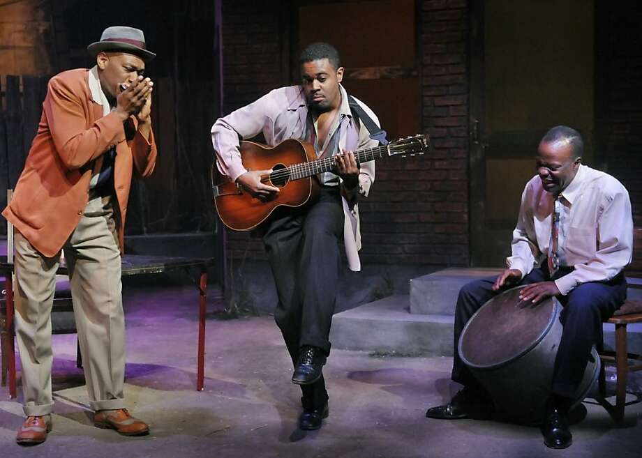 "Canewell (Marc Damon Johnson), Floyd Barton (Tobie Windham) and Red Carter (L. Peter Callender) rehearse for Floyd's recording session in Marin Theatre Company's production of August Wilson's ""Seven Guitars"" Photo: Kevin Berne"