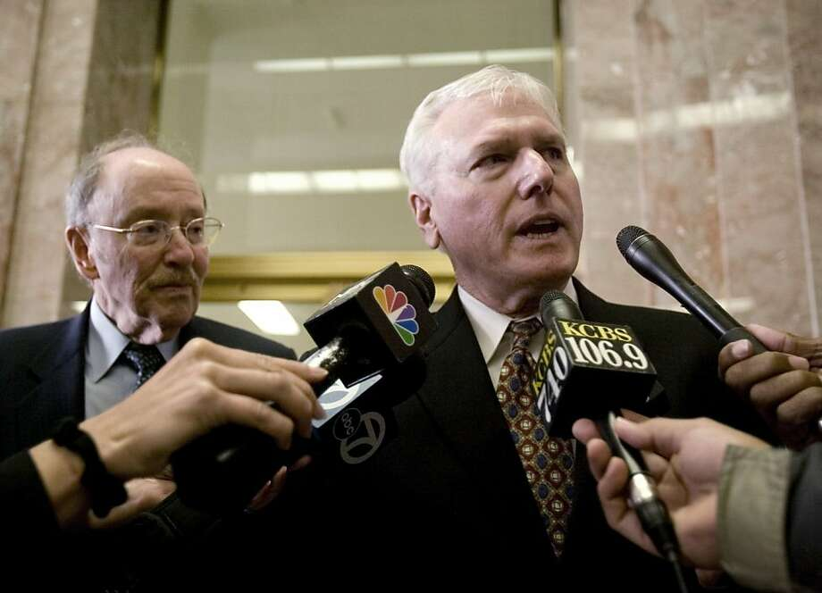 FILE- In this March 21, 2011 file photo, Gene Peretti, right, attorney for Yusuf Bey IV, and Gary Sirbu, attorney for Antoine Mackey,  address the media before the start of trial proceedings in Alameda County Superior Court in Oakland, Calif. An Alameda County judge is scheduled to listen to new motions from the lawyers of two men convicted in the murder of an Oakland journalist. Bey, Mackey and Devaughndre Broussard were scheduled for sentencing Friday, Aug. 12, 2011, for the murders of Oakland Post editor Chauncey Bailey and two men in 2007. (AP Photo/Oakland Tribune, D. Ross Cameron/Staff, file) NO SALES MAGS OUT NO TV NO INTERNET MANDATORY CREDIT Photo: D. Ross Cameron, Oakland Tribune Via AP