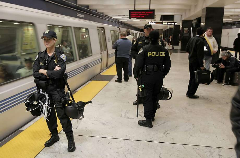 """BART police officers were out in force to prevent any disruptions from a protest sponsored by the """"No Justice, No BART"""" group. The protest did not materialize during the evening commute, on Thursday August 12, 2011. The protest was to be in response to the officer-involved shooting in July, 2011. Photo: Michael Macor, The Chronicle"""