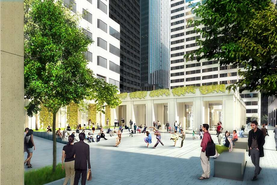 The plaza at the 50 Fremont St. office tower will be resigned to all a greater variety of events, part of an awareness that today's urban expectations are different than when the building opened in 1983. And yes, the plants and trees now in the plaza will be replanted elsewhere. Photo: Skidmore, Owings & Merrill LLP