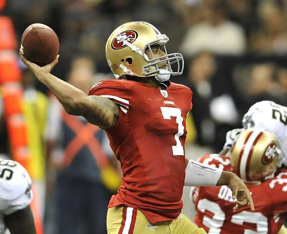 San Francisco 49ers quarterback Colin Kaepernick (7) throws downfield during an NFL football game at the Louisiana Superdome in New Orleans, Friday, Aug. 12, 2011. (AP Photo/Bill Feig) Photo: Bill Feig, AP