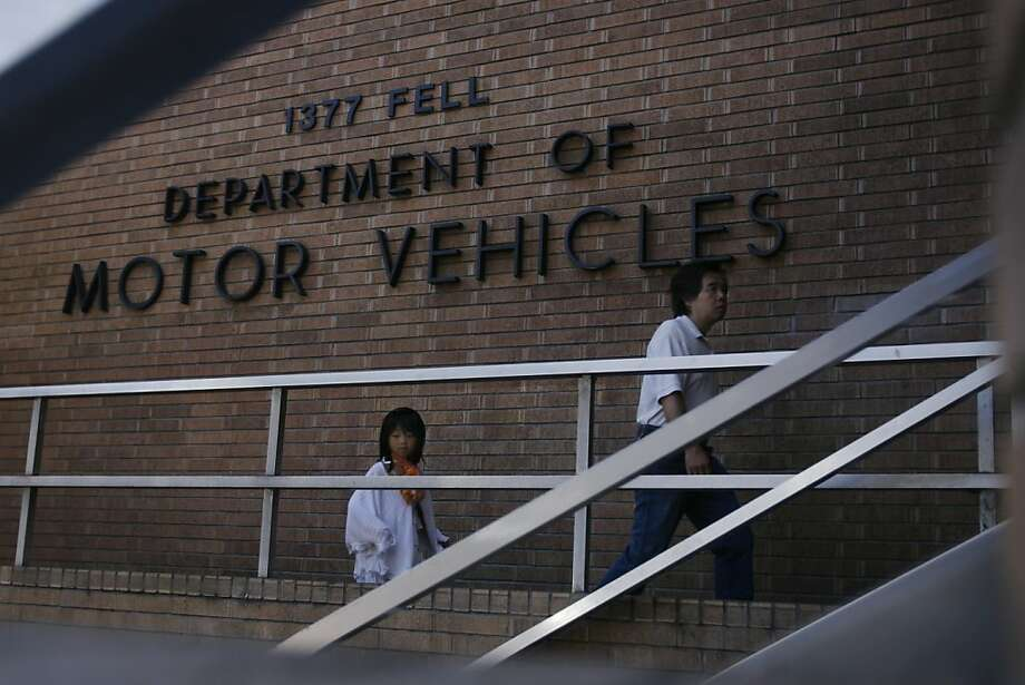 Cheng Lei and his daughter Rinko Lei arrive at a closed Department of Motor Vehicles office on Fell Street in San Francisco, Calif. on Saturday, Sept. 11, 2010 after visiting San Mateo and Daily City offices to file paperwork before its expiration date. The Fell Street DMV office had 20 of 34 staffers who decided to take Monday, Aug. 23, 2010 off following from being forced to take the previous Friday off unpaid. In San Francisco, Calif. on Saturday, Sept. 11, 2010. Photo: Kirsten Aguilar, The Chronicle