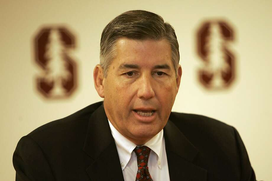 Stanford athletic director Bob Bowlsby talks about the firing of football coach Walt Harris in the university's campus in Stanford, Calif., Monday, Dec. 4, 2006.(AP Photo/Marcio Jose Sanchez) Ran on: 12-11-2006 Stanford AD Bob Bowlsby met with football recruits Saturday. Ran on: 12-11-2006  Ran on: 12-11-2006  Ran on: 04-19-2008 Bob Bowlsby finds himself in a hole after losing Stanford's basketball coach in a messy way.  Ran on: 05-05-2011 Bob Bowlsby says Stanford's annual TV revenue could rise to $25 million. Ran on: 05-05-2011 Bob Bowlsby says Stanford's annual TV revenue could rise to $25 million. Photo: Marcio Jose Sanchez, Associated Press 2006