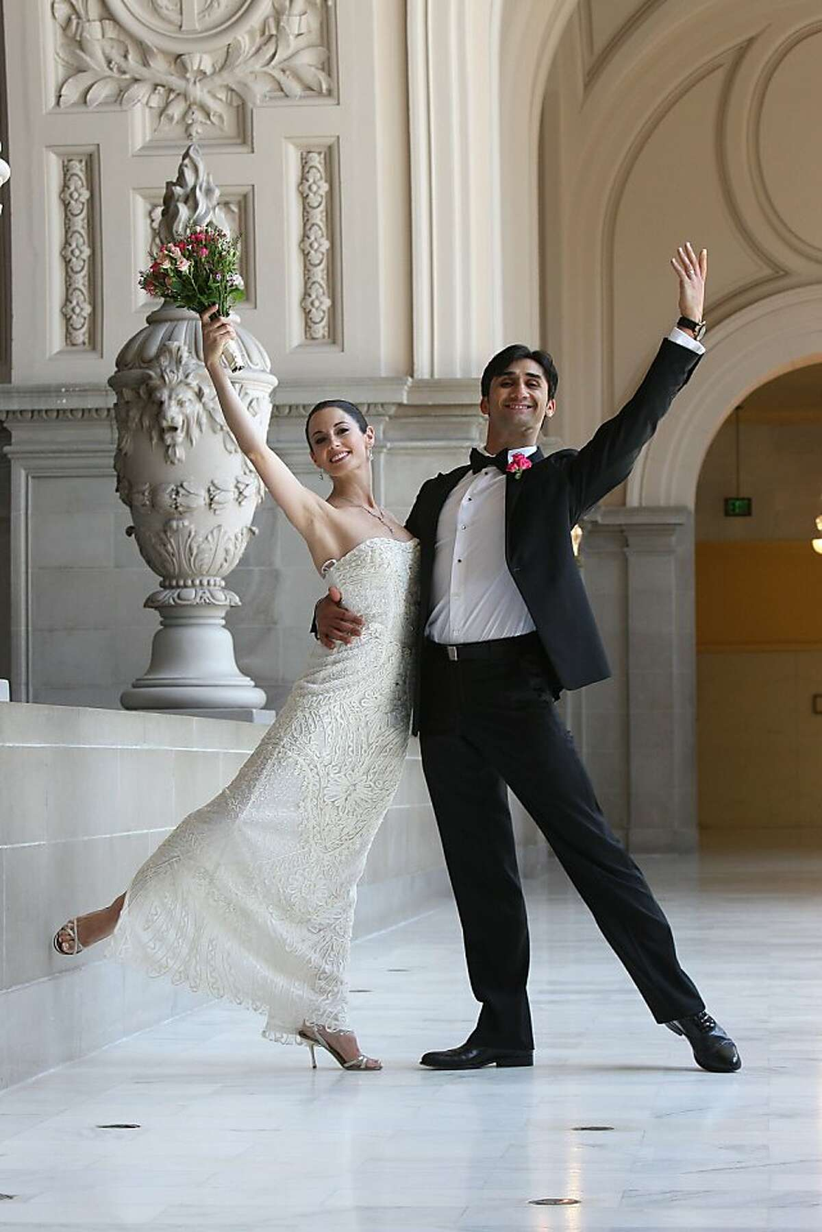 SF Ballet principal dancer Vanessa Zahorian and her husband, fellow dancer Davit Karapetyan pose after marrying in a civil ceremony at City Hall in San Francisco, Calif., on Tuesday, July 12, 2011.