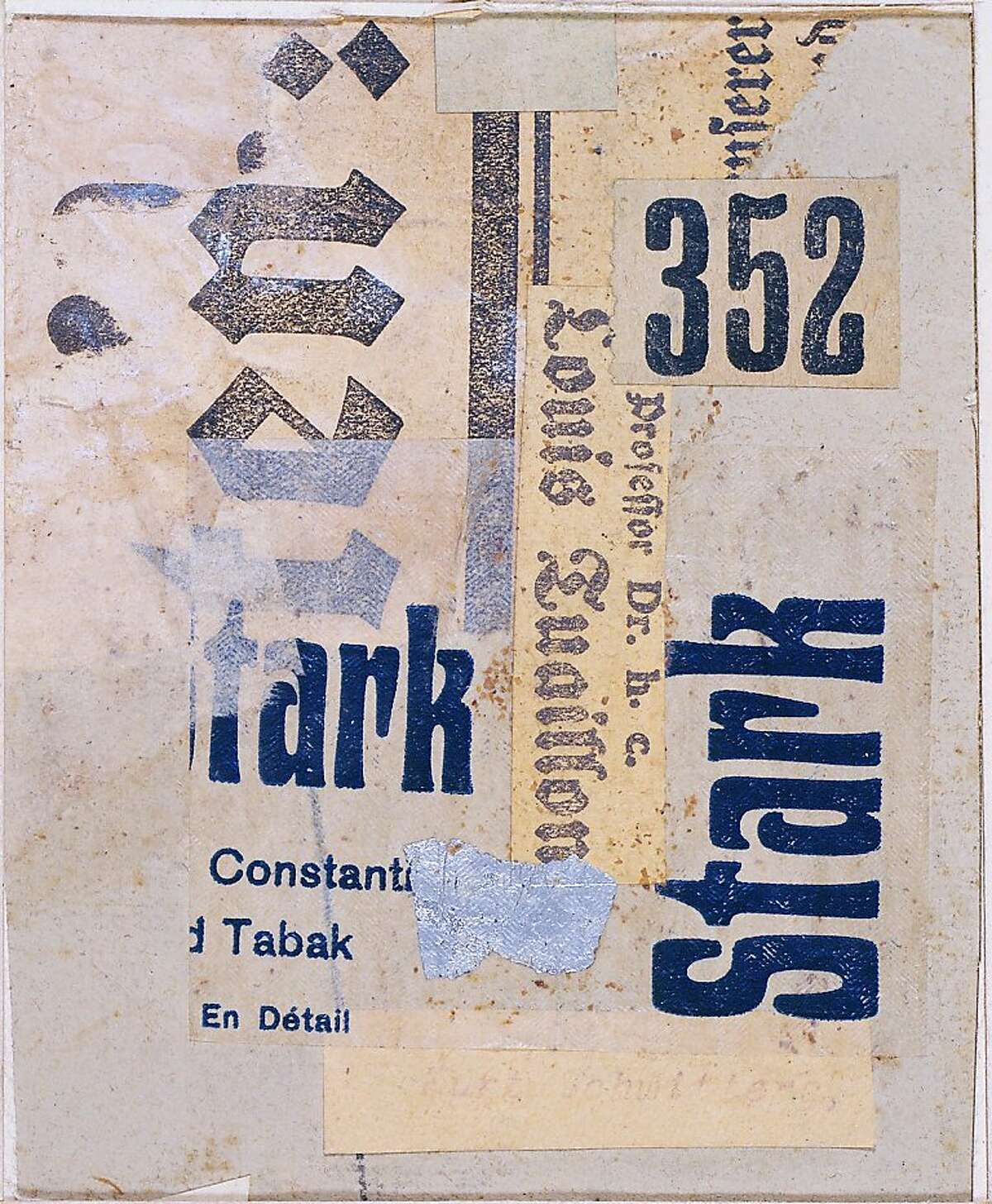 """""""MZ 11 Starkbild (MZ11 Strong Picture)"""" (1919) collage of cut and torn, printed, metallic and tissue papers on paperboard by Kurt Schwitters"""