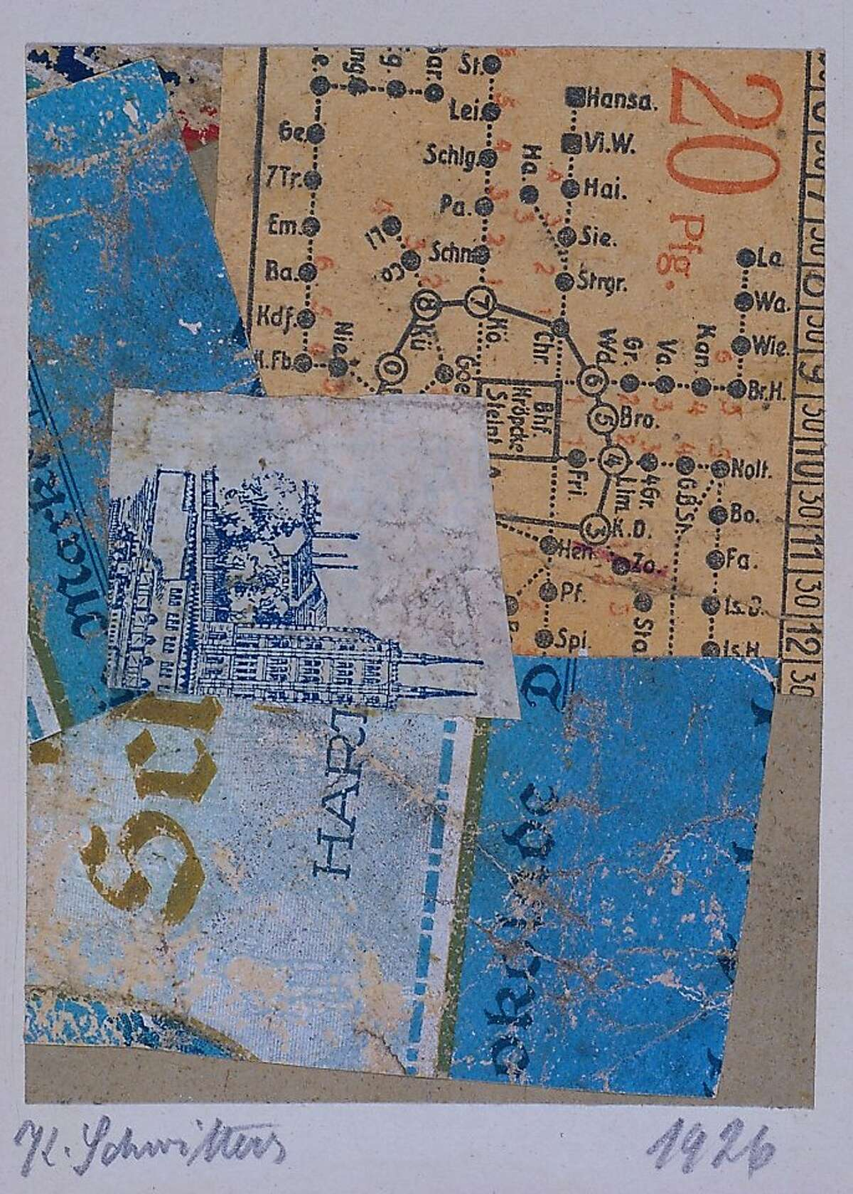 """""""Untitled (okolade)"""" (1926) collage of cut, printed and marbelized papers on paperboard by Kurt Schwitters"""