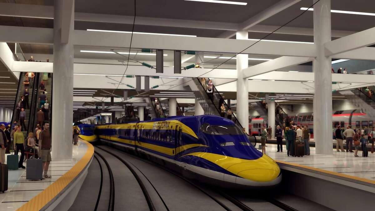 This interior view of Transbay Terminal shows how high speed rail would operate in a large transit oriented station.