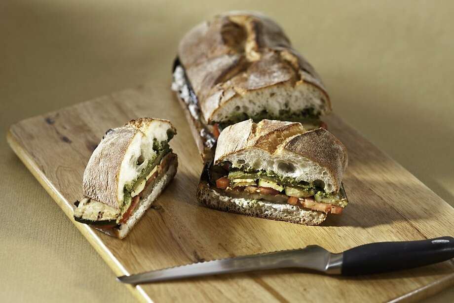 Grilled Vegetable & Basil Ricotta Sandwich: Use whichever vegetables you have on hand. Click here for the recipe. Photo: Craig Lee, Special To The Chronicle