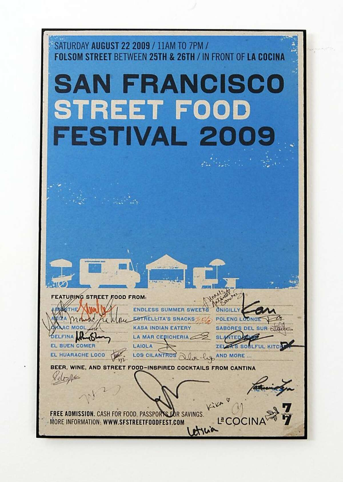 One of Caleb Zigas, favorite objects is a poster signed by his friends and staff from the 2010 street festival. Tuesday July 26, 2011.
