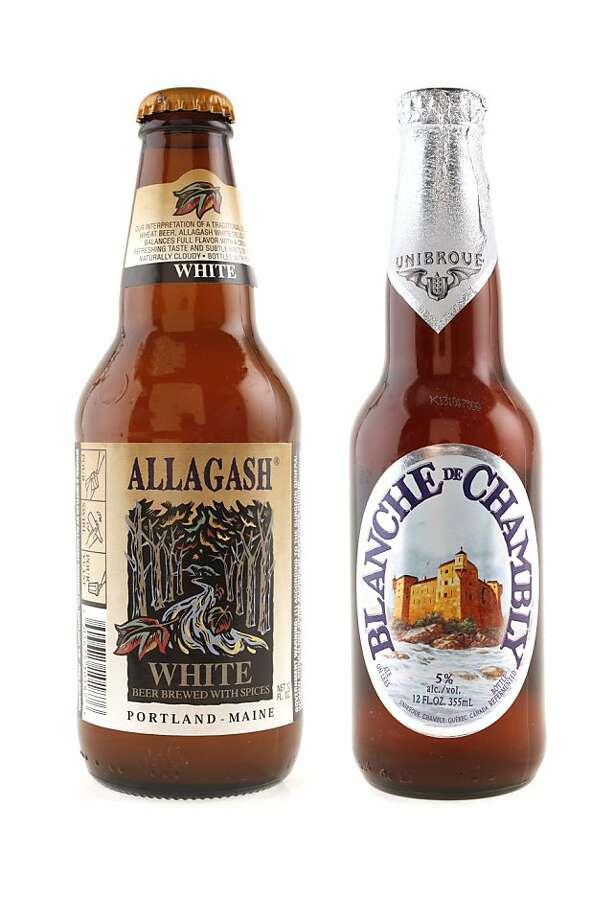 Allagash White beer, right, and Blanche de Chambly as seen in San Francisco, California, on Wednesday, August 10, 2011.   MANDATORY CREDIT FOR PHOTOG AND SF CHRONICLE/NO SALES-MAGS OUT-INTERNET OUT-TV OUT