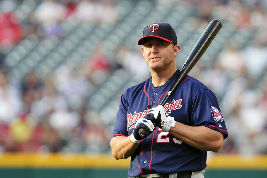 CLEVELAND, OH - AUGUST 12: Designated hitter Jim Thome #25 of the Minnesota Twins warms up prior to the game against the Cleveland Indians at Progressive Field on August 12, 2011 in Cleveland, Ohio. (Photo by Jason Miller/Getty Images) Photo: Jason Miller, Getty Images