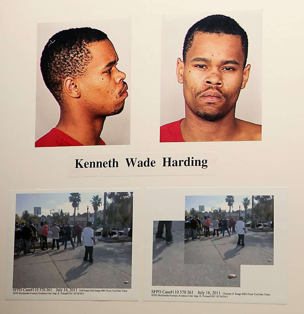 Mug of suspect Kenneth Wade Harding on Monday, July 18, 2011 at the Hall of Justice in San Francisco, Calif., shown in the press conference about the recent officer involved in shooting him on 3rd and Palou Ave.