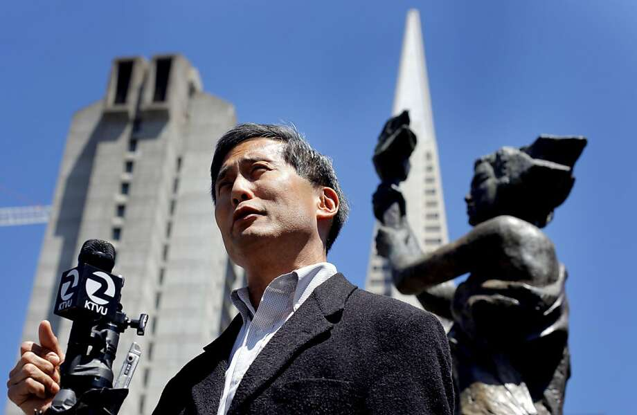Doug Chan, Vice Chairman of San Francisco Human Rights Commission addresses the media under the Goddess of Democracy,  to denounce the negative campaign attacks by other candidates against Mayor Ed Lee, Wed. August 10, 2011,  the Portsmonth Square  in San Francisco, Calif. Photo: Lacy Atkins, The Chronicle
