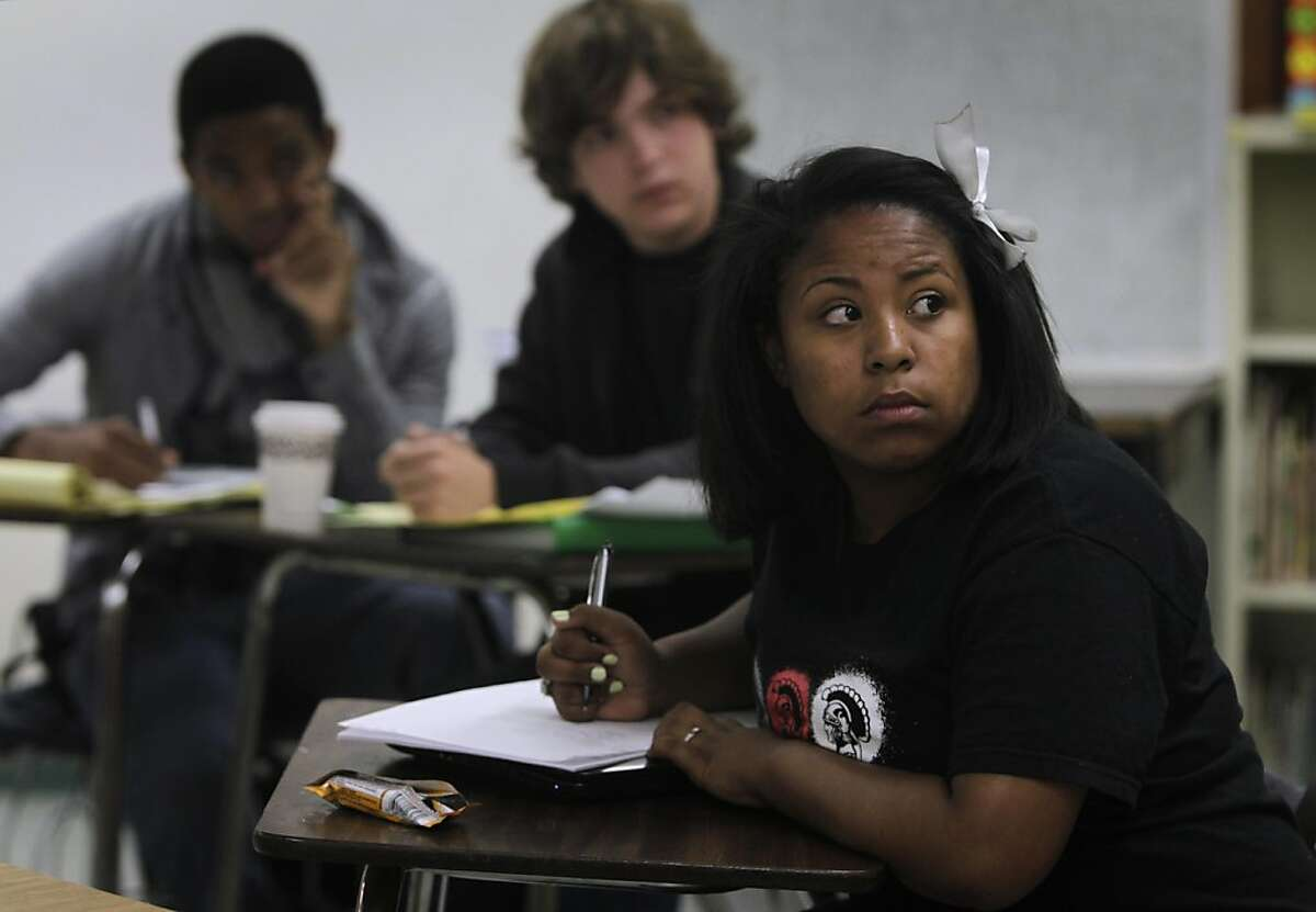 Skyline High School student Annessa Lopez takes part in a debate on the last day of a debate camp sponsored by the Bay Area Urban Debate League in Oakland, Calif. on Friday, August 5, 2011.