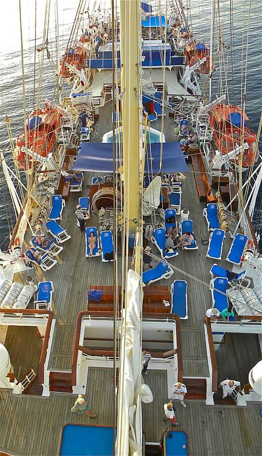 A view of the deck from up in the rigging of the Star Flyer. Photo: Bob N. Jenkins, Special To The Chronicle