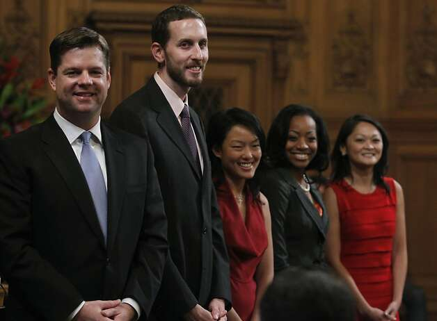 From left, Mark Farrell, Scott Wiener, Jane Kim, Malia Cohen and incumbent Carmen Chu smile before they are sworn in to serve on the Board of Supervisors at City Hall in San Francisco on Saturday. Photo: Paul Chinn, The Chronicle