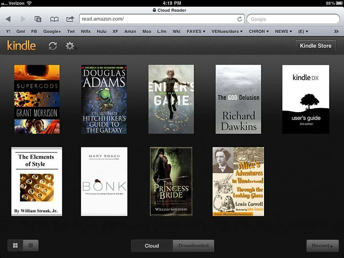 A screenshot of Amazon's Kindle Cloud Reader on the iPad.