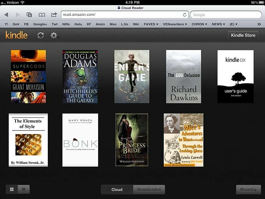 A screenshot of Amazon's Kindle Cloud Reader on the iPad. Photo: Amazon