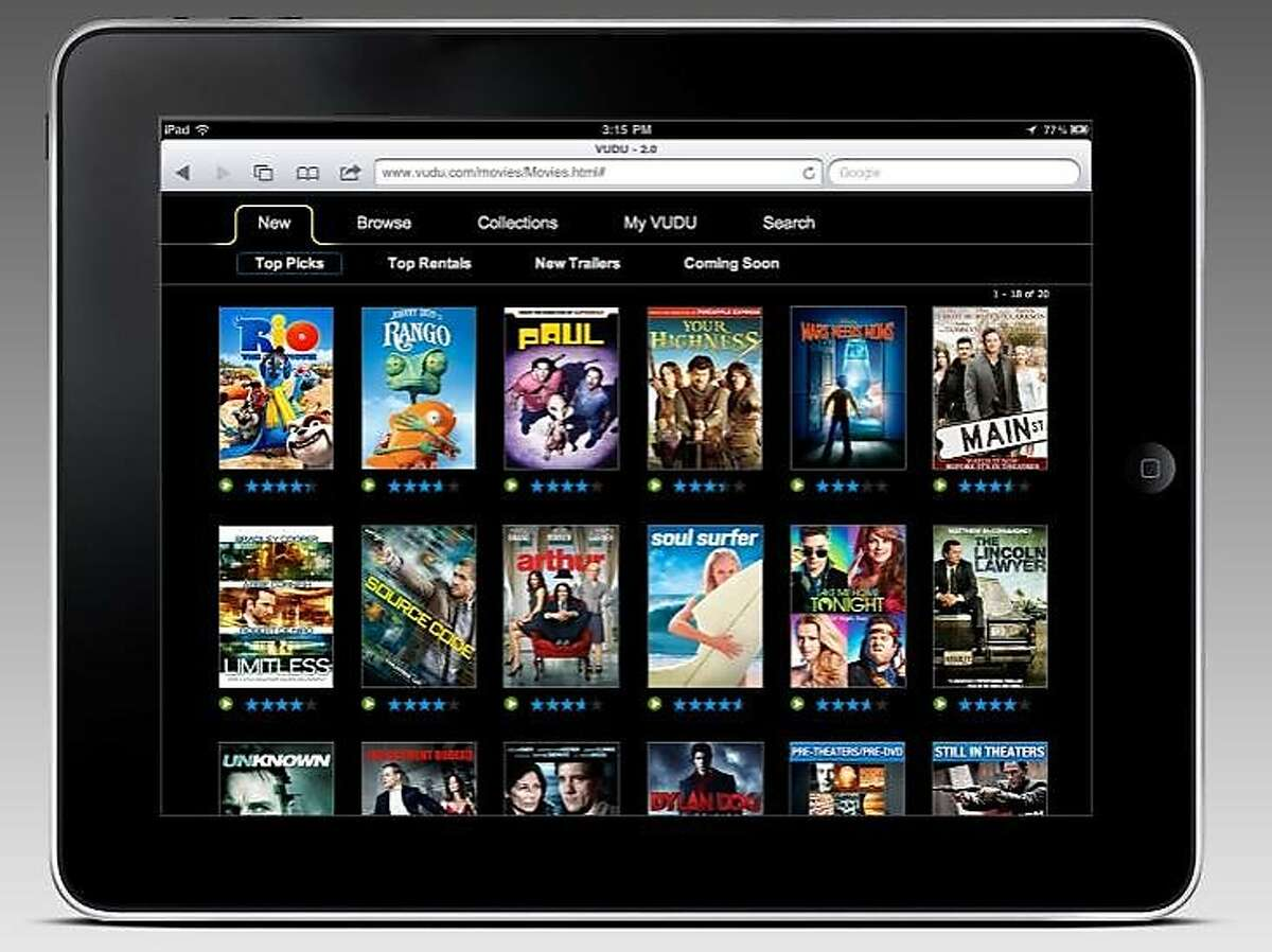A mock-up image of VUDU UI for the iPad.
