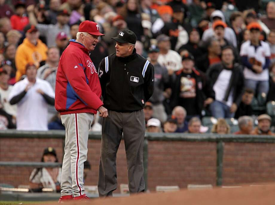 Philadelphia Philles Manager Charlie Manuel argues with umpire Mike Everitt after Jimmy Rollin is called out at third base, against the San Franicsco Giants Thursday August 4, 2011, in San Francisco, Calif. The  Philles defeatedthe Giants  3-0. Photo: Lacy Atkins, The Chronicle