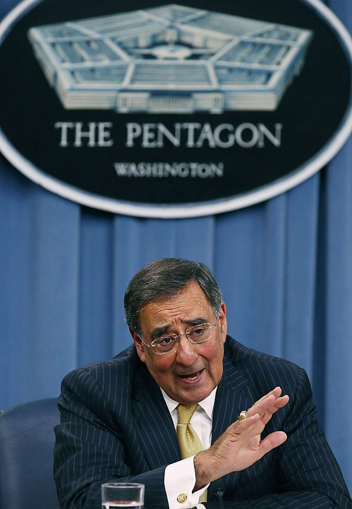 ARLINGTON, VA - AUGUST 04: Secretary of Defense Leon Panetta speaks during a briefing at the Pentagon, on August 4, 2011 in Arlington, Virginia. Panetta warned against defense budget cuts during his first media briefing since taking over as Secretary of Defense.