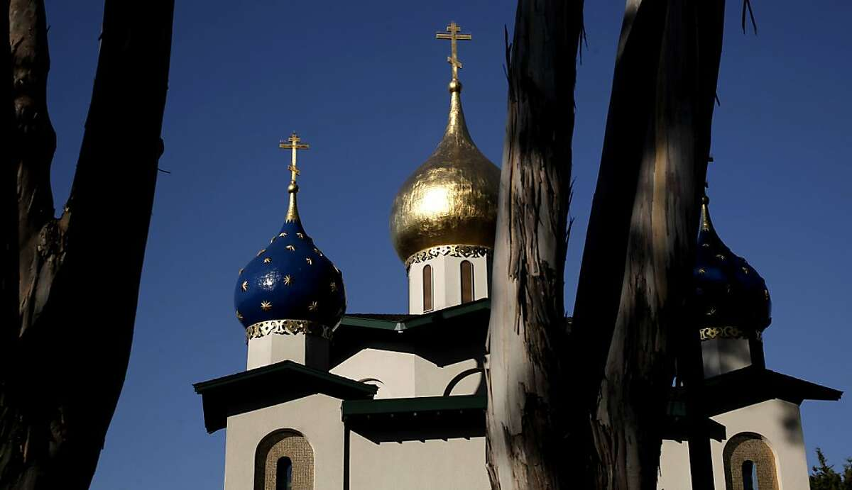 The Russian Orthodox Church along the east side of the El Camino Real in Burlingame, Ca. on Friday August 5, 2011. The many different architectural designs of buildings and the variety of signs along the El Camino Real from Millbrae south to Redwood City.