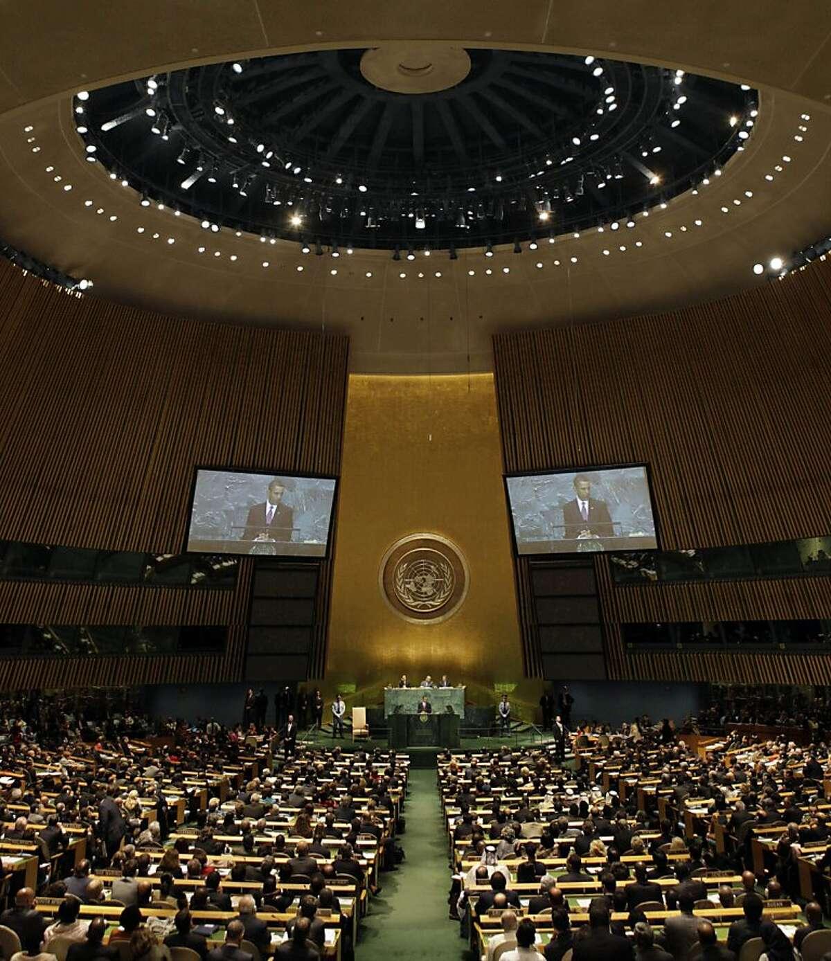 U.S. President Barack Obama addresses the 64th session of the United Nations General Assembly, Wednesday, Sept. 23, 2009. (AP Photo/Richard Drew)