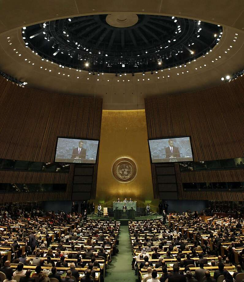 U.S. President Barack Obama addresses the 64th session of the United Nations General Assembly,  Wednesday, Sept. 23, 2009. (AP Photo/Richard Drew) Photo: Richard Drew, Associated Press
