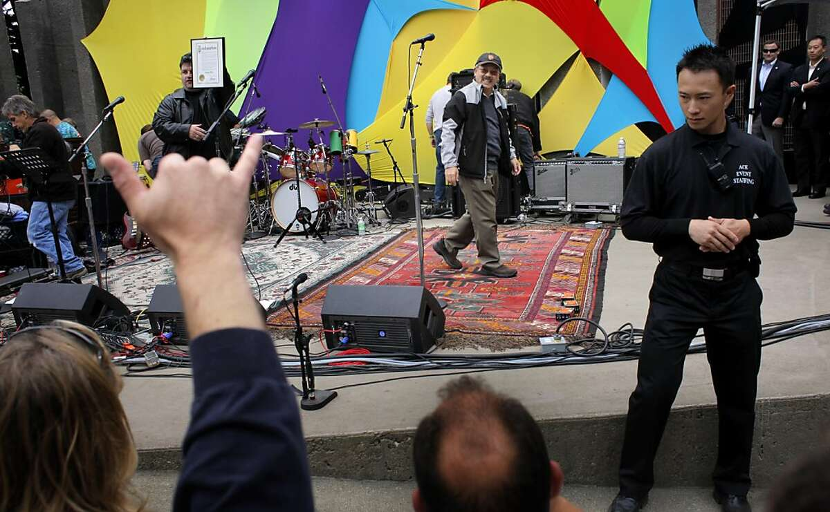 The crowd gestures to Mayor Ed Lee as he walks off the stage after commemorate Jerry Garcia , Sunday August 7, 2011, during the annual Jerry Garcia Day celebration at McLaren Park, in San Francisco, Calif. San Francisco started celebrating Jerry Garcia Day 6 years ago and had he survived he would have been 69 years old on August 1.