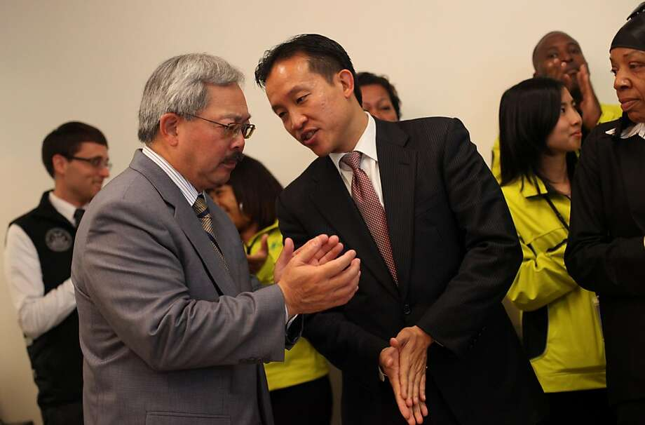 Mayor Ed Lee (l to r) and David Chiu, President of the Board of Supervisors talk during the launch of a permanent Community Ambassadors Program at North East Medical Services on Monday, August 1, 2011 in San Francisco, Calif. Photo: Lea Suzuki, The Chronicle